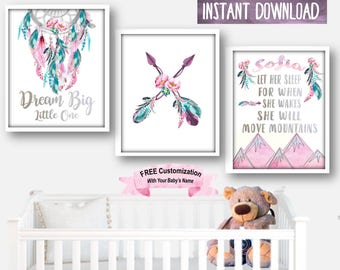 Nursery Decor, Nursery Art, Boho Wall Art, Nursery Prints, Nursery Wall Decor, Boho Decor Baby Girl Art Boho Girl Art Boho Nursery Art Boho