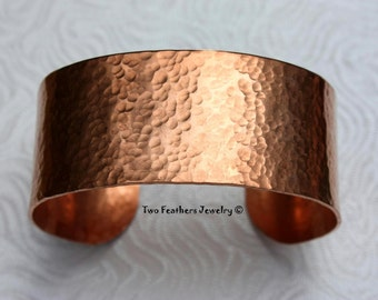 Hammered Copper Cuff  - Hammered Cuff - Copper Bracelet - Wide Cuff - Traditional 7th Anniversary Gift - Solid Copper - Two Feathers Jewelry