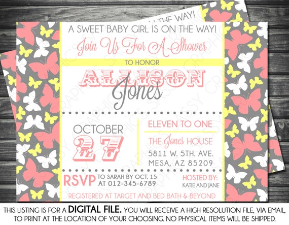 Girl baby shower invitation butterfly pink yellow gray like this item filmwisefo Images