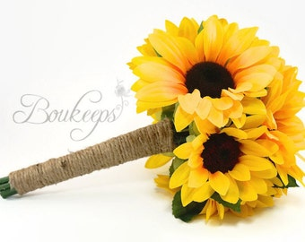 CHOOSE RIBBON COLOR - Sunflower Bouquet, Sunflower Bridal Bouquet, Flower Girl Bouquet, Toss Bouquet, Sunflower Wedding, Sunflower, Bouquet
