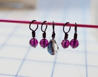 Swarovski Crystal Bead knitting stitch markers - Set of 5 - charms