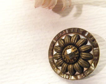"""Antique Metal FLOWER Floral Button With Carved Shell 11/16"""", ANIMAL CHARITY Donation"""