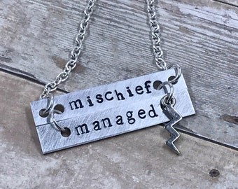 "Harry Potter Inspired ""mischief managed"" Necklace - Lightning - Book Quote - Marauder's Map - Wizard - Hogwarts - Gift - Reader - Literary"