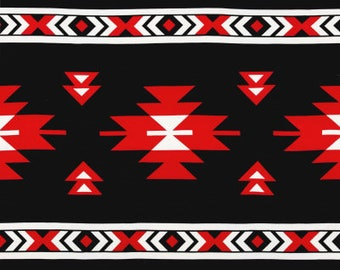 Red and black Stretchy Tribal fabric Per Yard/ Silky Jersey fabric for Swimwear/ Leggings Fabric/ Bodycon Dress