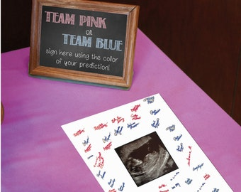 "Gender Reveal Party Sign the Sonogram 6"" x 4"""