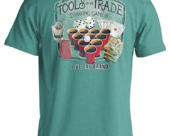Live Oak Short Sleeve Tools Of The Trade (Drinking Games) Comfort Color Sea Foam Green Pocket Tee