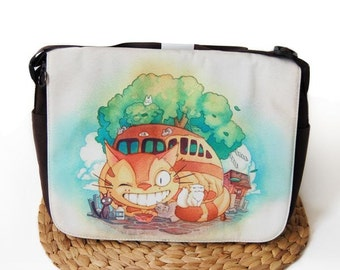Catbus and Friends from My Neighbor Totoro Studio Ghibli Messenger Bag