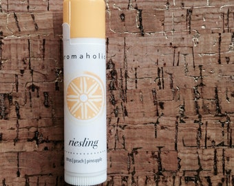 Riesling lip balm - pineapple, citrus and peach flavored lip balm - wine flavored lip balm - Pinot white wine lip balm