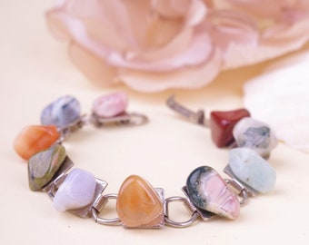 Polished 70s Stone Bracelet Multi Color Silver