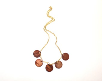 Brown and gold necklace with flat coin beads and brass chain, gold tone necklace, brown bead necklace, boho necklace
