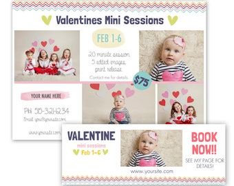 Valentines Day Mini Session Template - valentine mini sessions - photography marketing template - free facebook timeline cover