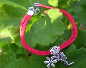 "Girl BRACELET in red suede with ""Elf"" Silver Pendant"