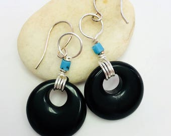 Onyx hoop bead earrings