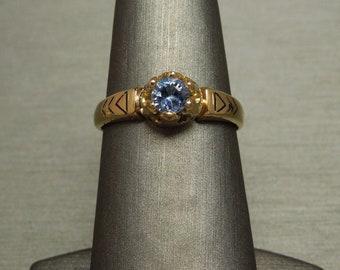 Antique Victorian Estate C1890 18K Gold 0.46ct Round Cornflower Blue Sapphire Solitaire Engagement Ring Sz 8