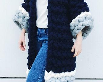 Big yarn women cardigan, 100% merino wool, cozy jacket, merino wool coat