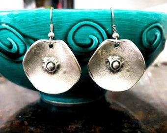 Mandala Earrings, Bohemian Earrings, Tribal Earrings, Ethnic Earrings, Gypsy Earrings, Silver Boho Earrings, Floral Silver Round Earrings