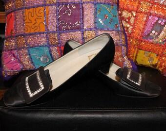 Buckle Up-60s Black Satin Pilgrim Shoes with Rhinestone Buckle