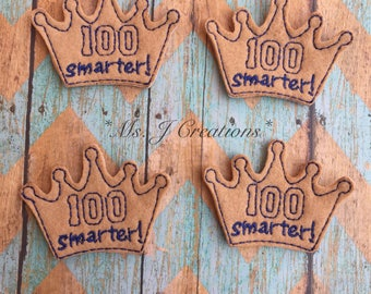100 Smarter Felties - Tan 100 Days of School Scrapbook Hair Accessories Hairbows Girls Planners - READY TO SHIP