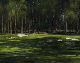 Golf Art. Golf Gift. Pinehurst Golf Club, Course 2, Hole #17. Print of original oil painting.