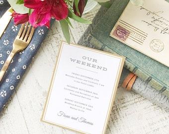 Wedding Agenda Card, Printable Wedding Timeline Letter, Events Card, Elegant, Itinerary, Agenda, Hotel Card - INSTANT DOWNLOAD