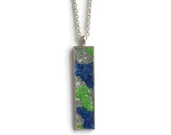 Drop pendant, drop necklace, bar pendant, pendant necklace, boho, under 20 dollars, geode pendant, druzy, rectangle pendant, mosaic pendant