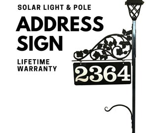 "Double Sided Address Sign - Solar Light with Pole Includes Reflective Metal Sign for Yard for | Steel 60"" Pole Single Scroll and Plant Hook"