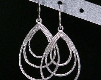 On Sale Matte Silver Triple Hoop Earrings