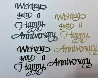 Handmade, 3 Wishing You a Happy Anniversary, Die Cuts, Sizzix, Black, Gray, Light Orange, Cards, Scrapbooking,