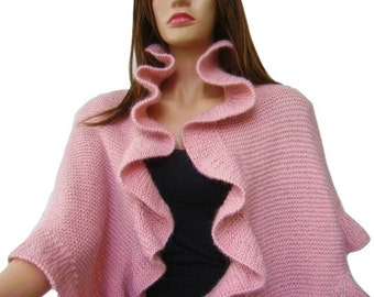 Mohair Dusty Rose, Pink Three Sides Ruffle Cute Shawl, Bridal Wrap, Handknit, Express Delivery