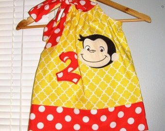 Curious George, Curious George dress, Birthday Dress, George dress, yellow applique pillowcase dress 3 6,9,12 18 month 2t, 3t,4t 5t,6,7,8,10