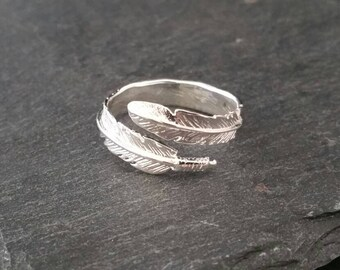 925 Sterling Silver Feather Angel Statement Ring Gift Wrapped
