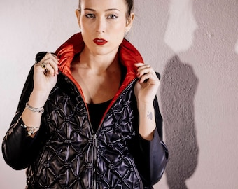 Sleeveless double face black leather/waterproof red/leather/pelle/nero/black/rosso/Red