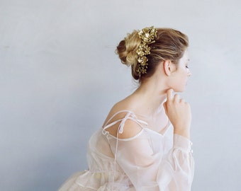 Bridal headband - Crescent floral decadence headpiece - Style 751 - Made to Order