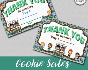 Cookie Sales Printable Thank You Card Set, lnstant Download