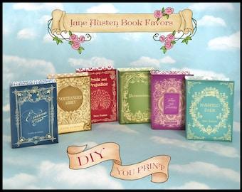 "Jane Austen Book Box Favor 4""x6"" / Pride and Prejudice Emma Sense & Sensibility Mansfield Park Northanger Abbey Persuasion/Available Custom"