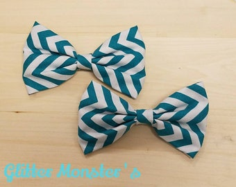Boys Teal Chevron Bow Tie in Cotton, Ring Bearer Bow Tie, Groomsmen Bow Tie, Wedding Bow Tie, Easter Bow Tie, Clip On Bow Tie