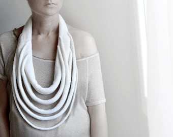 white statement necklace, big knitted necklace, winter Accessories