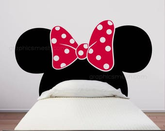 Minnie Mouse Inspired HEADBOARD Mickey ears with bow WALL DECALS by GraphicsMesh (Full size bed)