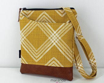 ZOE Messenger Cross Body Sling Bag - Colton Saffron Yellow and PU Leather READY to SHIp  Ipad bag