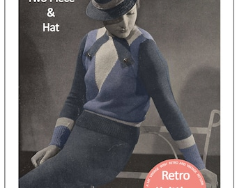 1930's Two Piece and Hat Knitting Pattern - Instant Download - PDF Instant Download - PDF Knitting Pattern