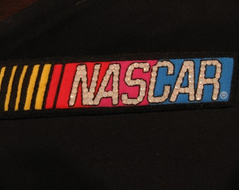 NASCAR LOGO PIN-Racing Fan Gift-Wearable Magnetic Brooch-Swarovskli Crystals-Hand Embroidered