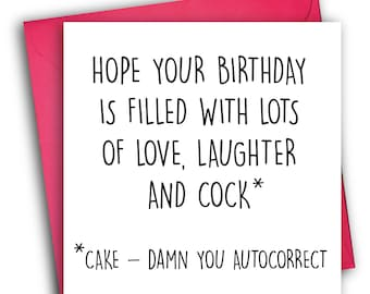 Funny Birthday Card/ Rude Birthday Card/ Autocorrect