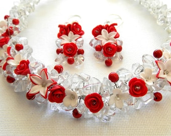 Red roses -Bib necklace - Jewelry set - Handmade necklace and earrings