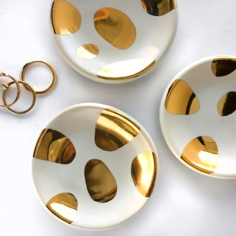 White and Gold Ring Dish Miro Ceramic Ring Dish