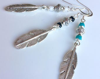Mens Single Earring, Long Single Earring, Silver Feather, Black Turquoise or White Beaded Mens Earring, Feather Jewelry, Mens Jewelry