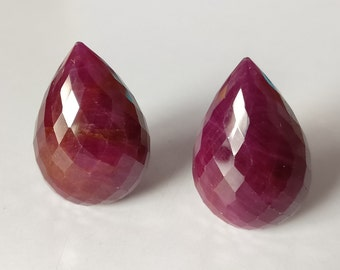 Natural Ruby Faceted Teardrops