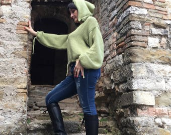 Women's sweater, hooded, pistachio green, warm cotton, handmade, knitted