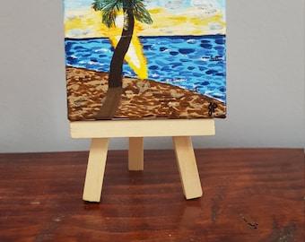 Beach painting, palm tree, ocean, original painting, gift, gift under 25, sunset, tiny art, mini painting, 3x3 canvas, prettyminipaintings