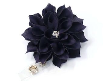 Large Navy Bloom - Flower Badge Holder - Pretty Badge Reel - Retractable ID Badge Clip - Teacher Gift - Nurse Badge Pulls - BadgeBlooms