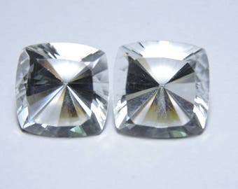 2 Pieces Extremely Beautiful Natural Rock Crystal Quartz Concave Cut Square Shaped Loose Gemstone Size 19X19 MM